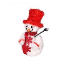 Объемная фигура снеговик в красном, 30 led.