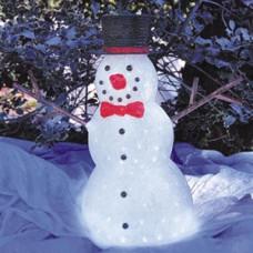 Светодиодная акриловая 3D фигура снеговик, 60 см.
