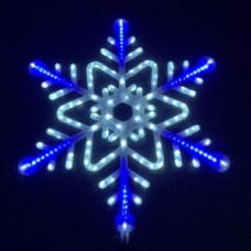 """Мотив снежинка"""" LED Snowflake с контроллером, бело-синяя."""""""