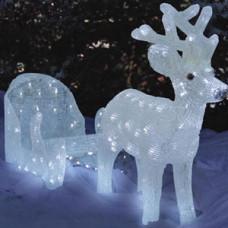 Светодиодная акриловая 3D фигура олень с санями, 50 см.