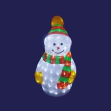 Светодиодная акриловая 3D фигура снеговик, 50 см.